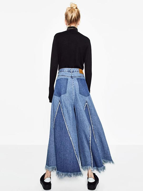 Fashion Loose Wide Leg Tassels Trousers Bottoms BLUE L
