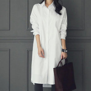 Fashion Casual Pure Color Long Shirt White xl