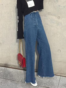 Empire Casual Wide Leg Jean Pants BLUE XS
