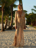 Casual Vacation Beach Lace-Up Mask Long Dress Cover-Ups LIGHT-APRICOT FREE SIZE(Bust37Sleeves21.7Length47.6)