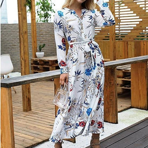 V-Neck Floral Long-Sleeved Dress white m