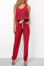 Fashion Pure Color Slim Show Thin Sleeveless Frenulum Jumpsuit