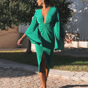 Fashion V Collar Pagoda Sleeve Bodycon Dress green xl
