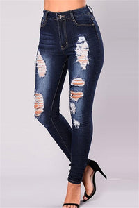 Fashion Skinny Jeans With Holes And Holes Dark Blue s
