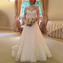Casual Lace Long Sleeve See-Through Wedding Dress