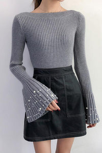 Casual Pagoda Sleeve Boat Neck Riveted Pearl Knitted Sweater White one size
