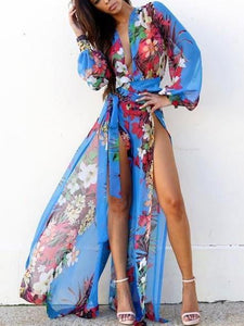 Chiffon Floral-Print Long Sleeve Deep V Neck Side Split Maxi Dress L(Sleeve24.8 Length55.1)