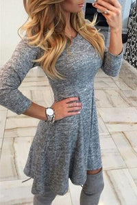 Round Neck  Plain  Three Quarter Sleeve Skater Dresses gray xs