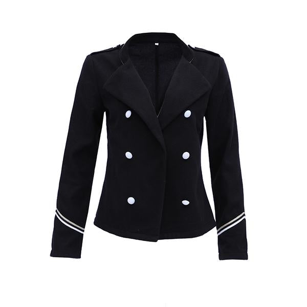Autumn And Winter   Fashion Pure Color Long-Sleeved Short Coat Black 3xl