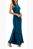 Elegant Fashion Slim Plain Sleeveless Halter Evening Dress green l