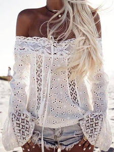 Lace Off Shoulder Flared Sleeves Cover-Ups Tops WHITE S