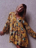 Yellow Floral Flared Sleeves V-neck Mini Dress YELLOW L