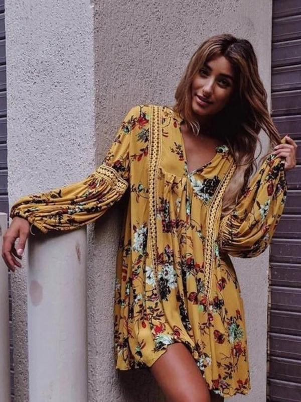 Yellow Floral Flared Sleeves V-neck Mini Dress YELLOW M