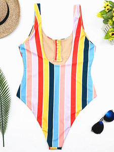 Stripes High Waist One-piece Swimwear STRIPES L