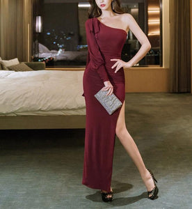 Casual Sexy Show   shouldered evening Shown thin Maxi dress Claret l