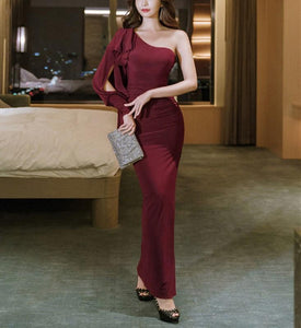 Casual Sexy Show   shouldered evening Shown thin Maxi dress Claret m