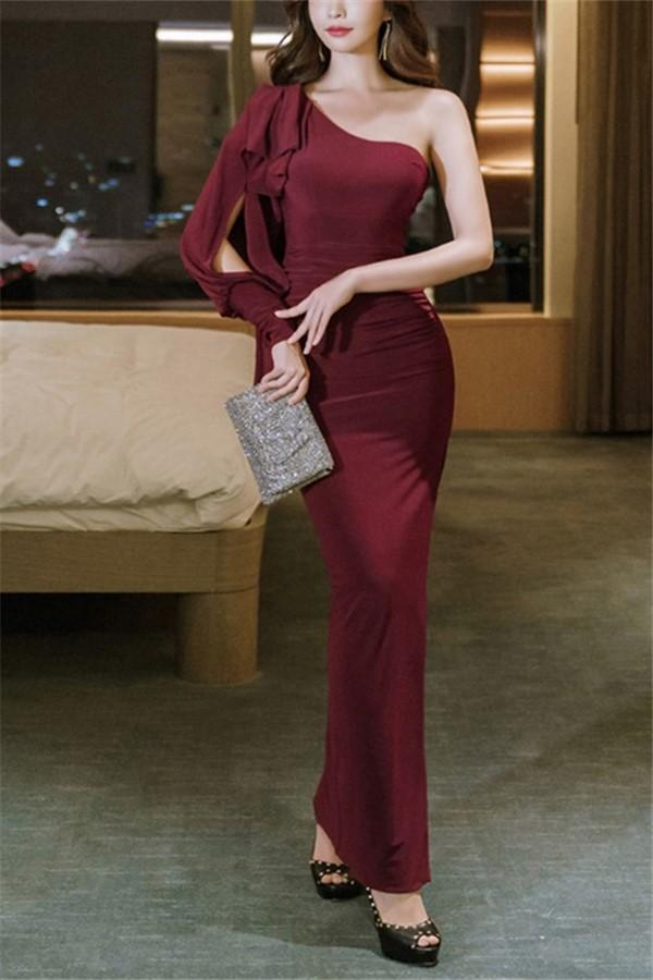 Casual Sexy Show   shouldered evening Shown thin Maxi dress Claret s