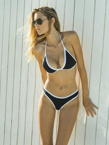Solid Color Halterneck Two-Pieces Bikini Swimwear BLACK S