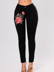 Fashion Black Elastic Embroidered Pencil Jean Pants Bottoms BLACK S