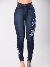 Fashion Elastic Embroidered Jean Pants Bottoms