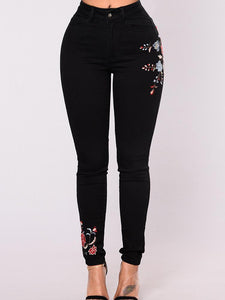 Black Elastic Embroidered Pencil Jean Pants Bottoms BLACK S