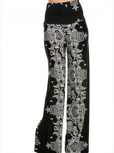 Bohemia Floral Big Hem Wide Leg Bottom Casual Pants S