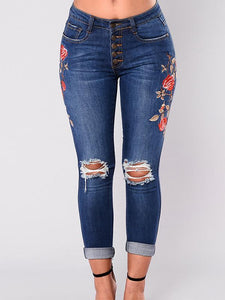 Pretty Elastic Embroidered Ripped Jean Pants Bottoms DEEP BLUE L