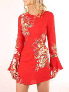 Pretty Printed Flared Sleeves Mini Dress RED S