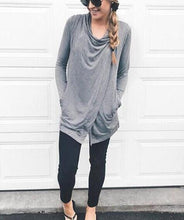 Casual Fashionable Long Sleeved Cardigan With Irregular Slit Top