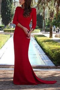 Sexy Red Long Sleeves Evening Dress Fishtail Maxi Dress red 3xl