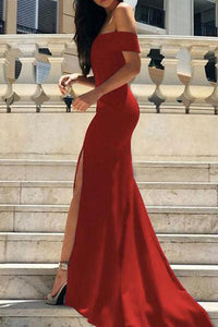 Off-Shoulder Split Hem Maxi Evening Dress red s