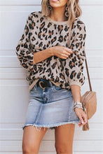 Casual Loose leopard long-sleeved lantern sleeve knit sweater