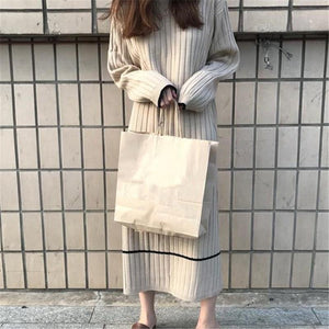 Fashion Simple And   Loose Long Sleeves Knitted Sweater Maxi Dress Black one size