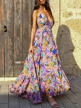 Spaghetti-neck Backless Bohemia Maxi Dress