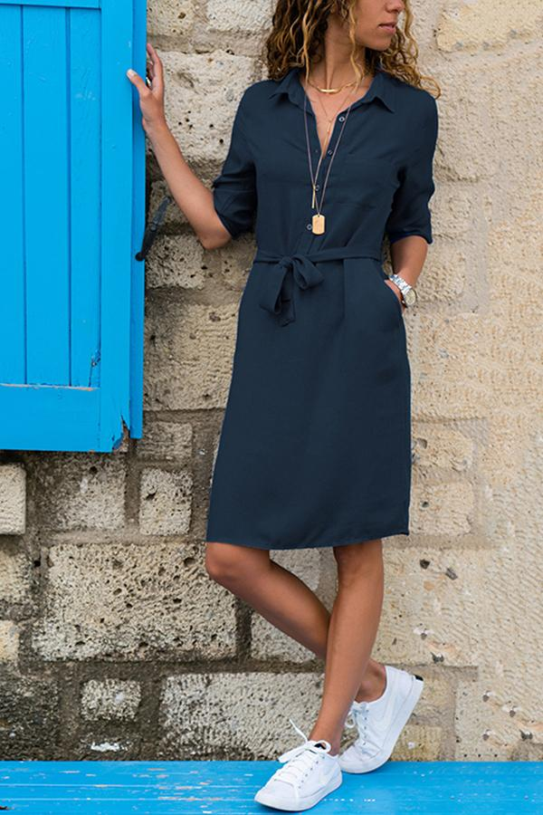 Lapel Solid Color Long Sleeve Shirt Shift Dress blue s