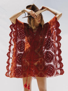 Sexy Red Lace Bandage Cover-up Mini Dress WINE S