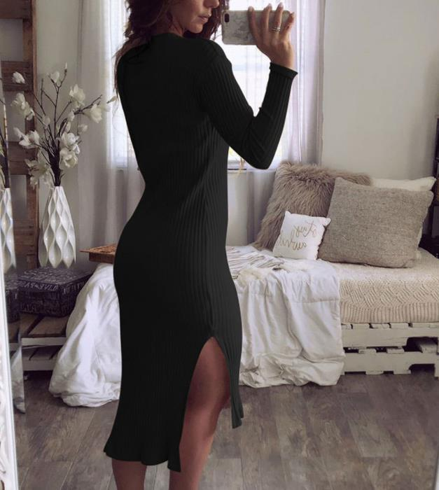 Casual Sexy round neck   slim long sleeve knit Maxi dress Black s