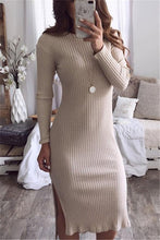 Casual Sexy round neck slim long sleeve knit Maxi dress