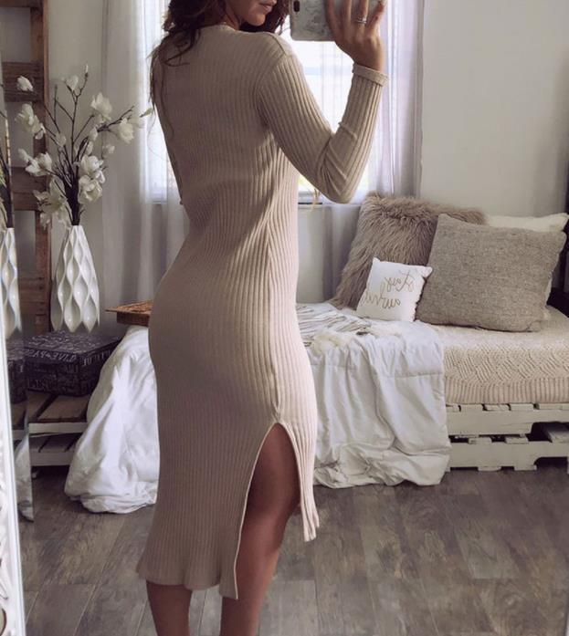 Casual Sexy round neck   slim long sleeve knit Maxi dress Khaki l