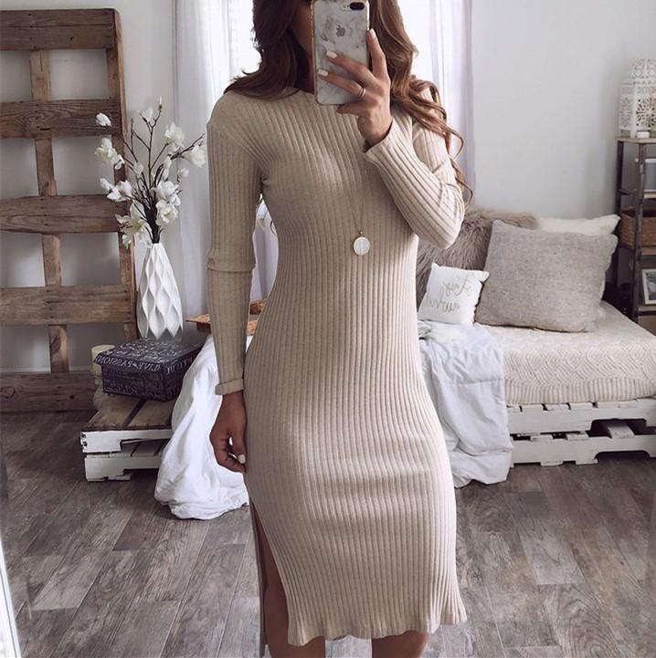 Casual Sexy round neck   slim long sleeve knit Maxi dress Khaki m