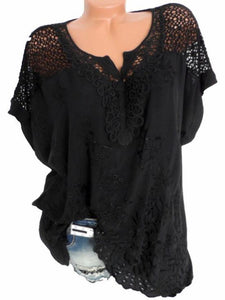 5 Colors Lace V-Neck Embroidered Batwing Coat with Short Sleeves BLACK 4XL