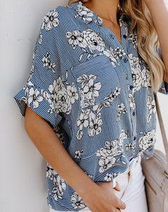 Fashion Loose Shredded   Printed Middle Sleeve Shirt Blouse Same As Photo m