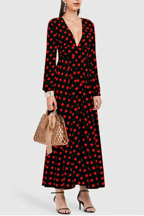 Sexy Deep V Collar Dot Defined Waist Maxi Dress red s