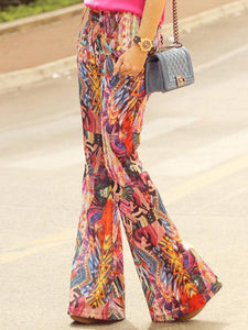 Fashion Floral Bell-bottoms Casual Pants S