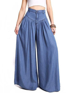 Simple Solid Color Big Hem Wide Leg Bottom Casual Pants BLUE XL