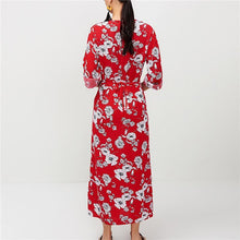 Casual Sexy V Collar Flower Printed Long Sleeved Show Thin Button Maxi Dress