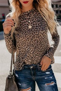 Fashion Sexy Leopard   Print Top With Long Sleeves And Round Collar T-Shirt Leopard Print s