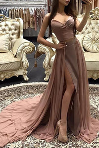 Sexy Pure Colour Slit Sling Evening Dress Apricot s