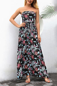 Calladream Women Floral Printing Sexy Off Shoulder Polyester Long Dress black s