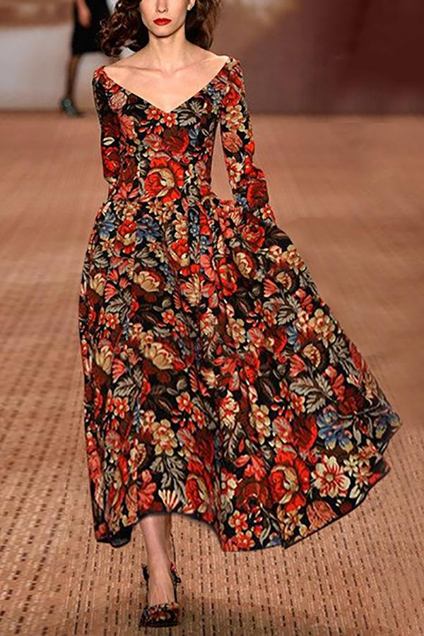 Flash Sale Deep V Retro Floral Printing Maxi Dress Red s